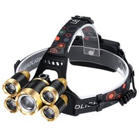 Durable Led Headlamp with 5 Led for Fishing Hiking Camping Waterproof Head Lamp 2 Rechargeable Batteries Included.