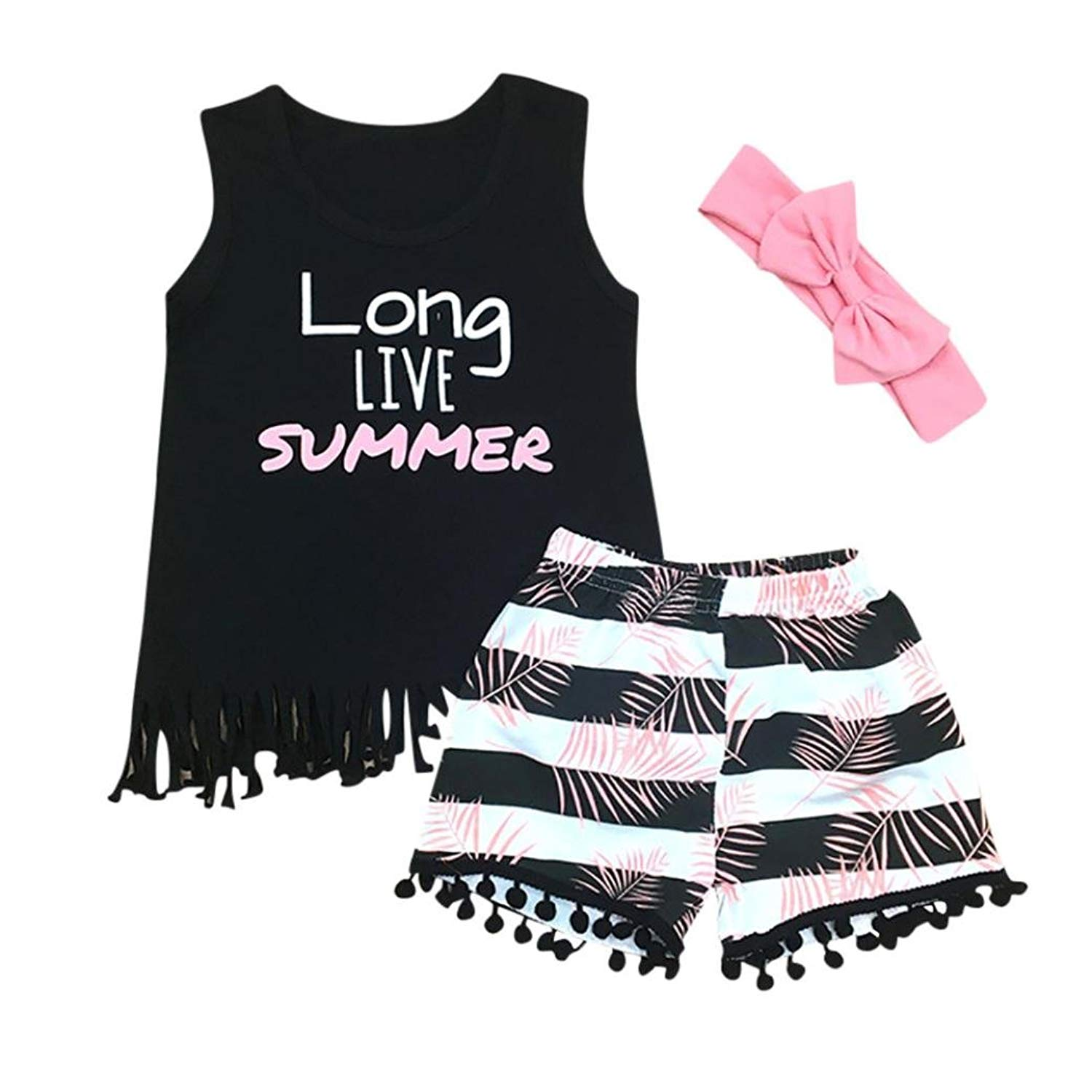 79bb545f8b6 Get Quotations · Scaling Baby Girls Cute Outfits Summer Letter Print Tank  Tops + Stripe Tassel Shorts + Headband