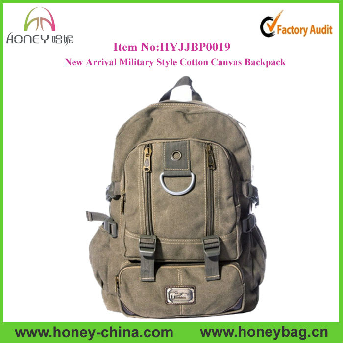 Designer Military Style Durable Backpack Bag Hiking Canvas School Backpack