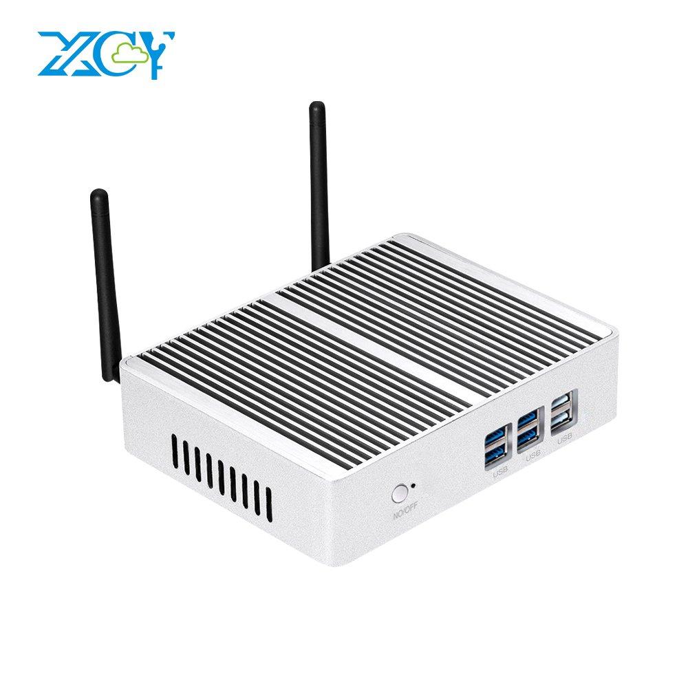 XCY Fanless Mini PC Intel Core i5 4300Y 1.60GHz Mini Desktop Computer HTPC Support Windows7/8.1/10/Linux/Ubuntu System,4G RAM and 128G SSD,WI-FI and VGA+HDMI