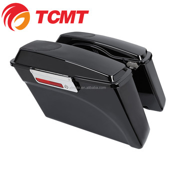 TCMT XF111557-01 Motorcycle Black Saddlebag W/ Speaker Lids For Harley Touring Electra Road Glide 1993-2013