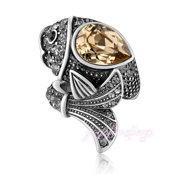 Cute fish boy big stone design new gold ring models for men View
