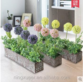 Kecil faux lavender bola bunga buatan bonsai bunga bonsai tanaman Dedaunan  sphere dengan pot set forParty 0080530570