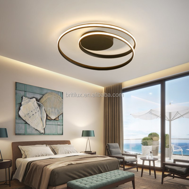 New design Black LED  aluminum spiral ceiling lights for living room bar cafe linear led ceiling light