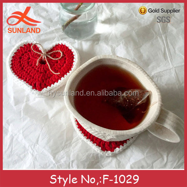 F-1029 valentine's day gift red love pattern cotton tea coasters for home decor