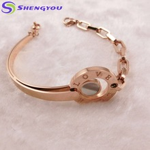 Wholesale Stainless Steel Jewelry Rose Gold Love Letter Engraving Half Chain Bracelet Charm