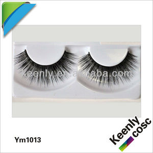 Hot 2013 OEM pure fur mink eye lashes; YM1013;100% hand-made, natural Mink fur eyelashes;Siberia mink eye lashes