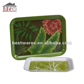 Custom Hotel Rectangle Green Melamine Fruit Deep Tray Set