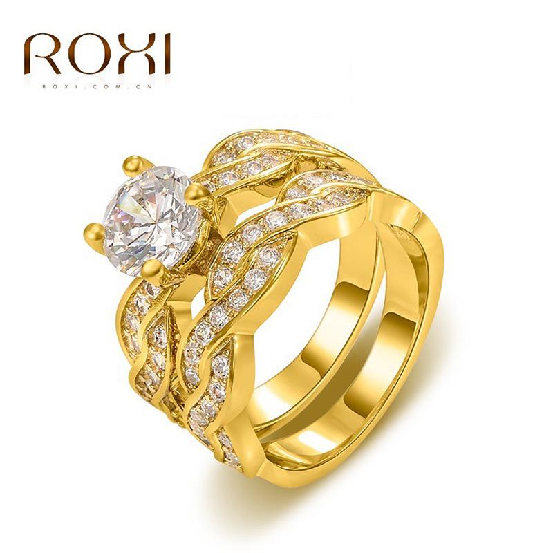 Woman Lady 18k Real Gold Plate Cubic Zirconia Diamond