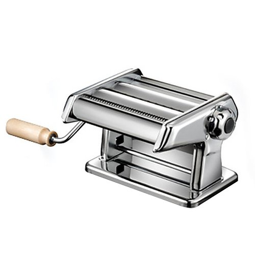 Pasta Maker Machine by Imperia- Heavy Duty Steel Construction w Easy Lock Dial and Wood Grip Handle- Model 190