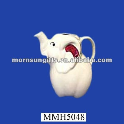 White elephant ceramic small water pitcher