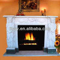 Hunan white marble outdoor fireplace