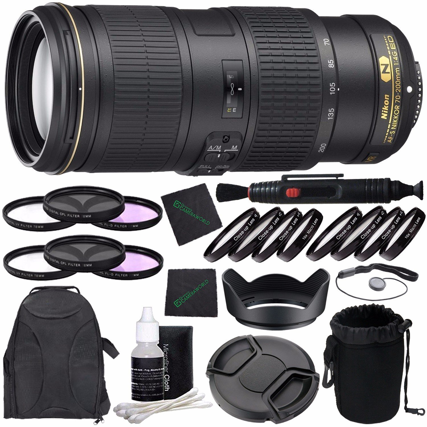 Nikon AF-S NIKKOR 70-200mm f/4G ED VR Lens + 67mm 3 Piece Filter Set (UV, CPL, FL) + 67mm +1 +2 +4 +10 Close-Up Macro Filter Set with Pouch + LENS CAP 67MM + 67mm Lens Hood + Cloth Bundle