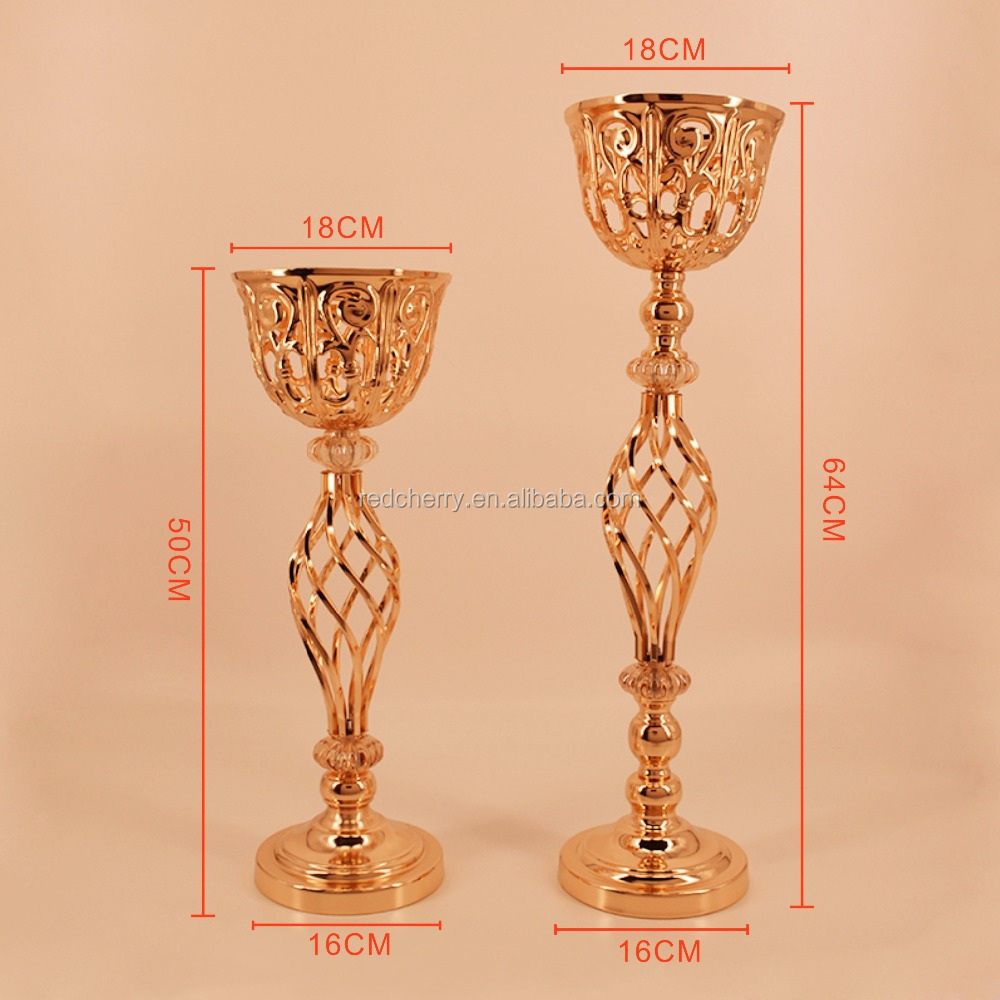 Electroplating, wrought iron hollow metal vase furnishing articles, wedding centerpiece