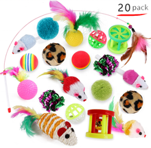 Wholesale Pet Products group pack 20 Set Cat Toy Ball Feather Kitten Toys teaser wand 20pcs set cat toys