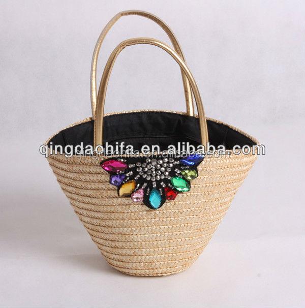 Cheap Reusable Eco woven laminated Shopping wheat straw bag beach bag woven straw handbag