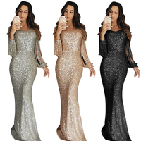 2020 Women Ladies Apricot Fringe Long Sleeve Party Maxi Sequin Evening Dress