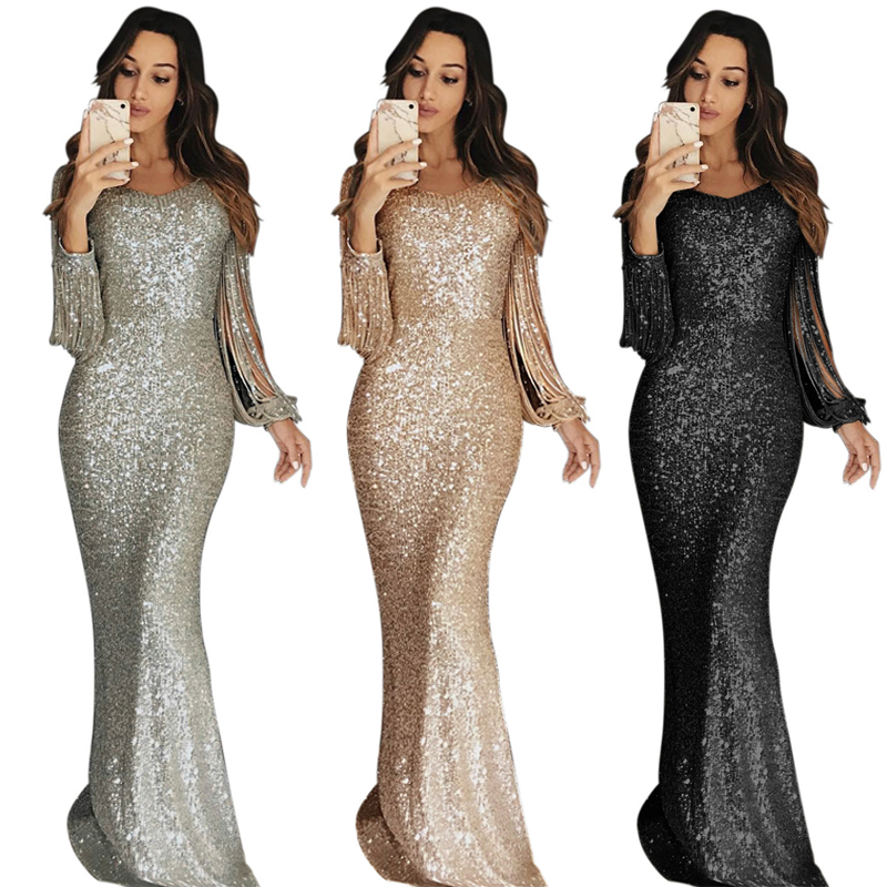 2020 Spring Women Ladies Apricot Fringe Long Sleeve Party Maxi Sequin Evening Dress