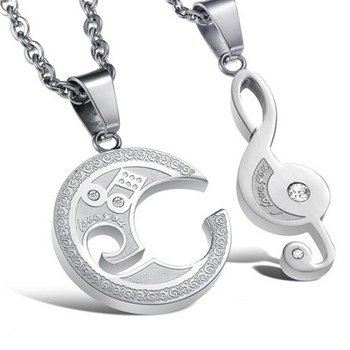 Personalized new design white music note couple pendant necklace personalized new design white music note couple pendant necklace mozeypictures Image collections