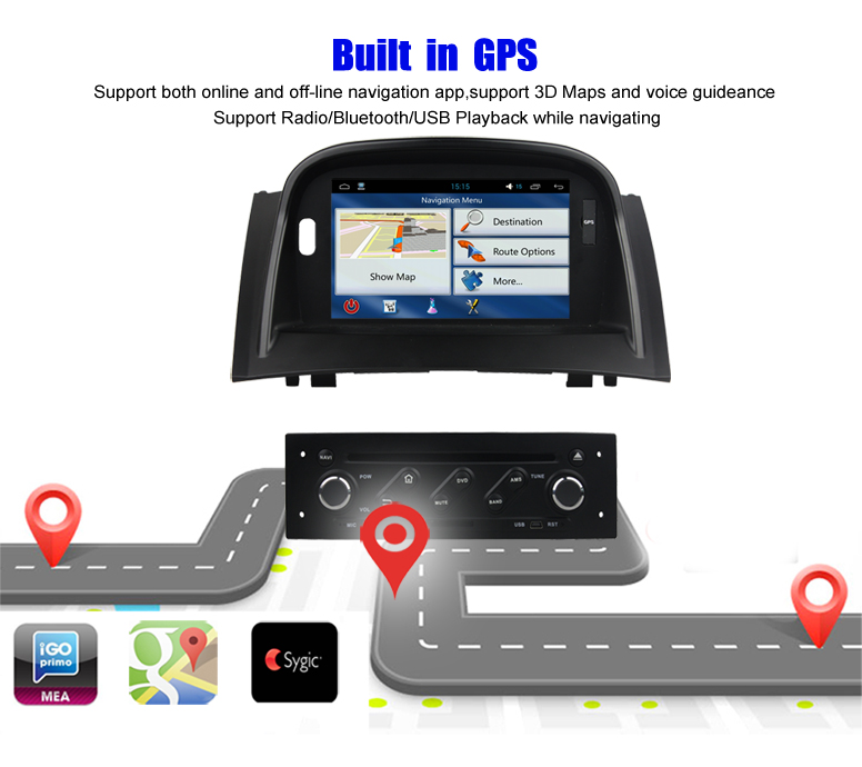 Krando Android 7.1 7'' touch screen car gps navigation system for Renault Megane II 2004-2009 car audio radio player KD-BW939