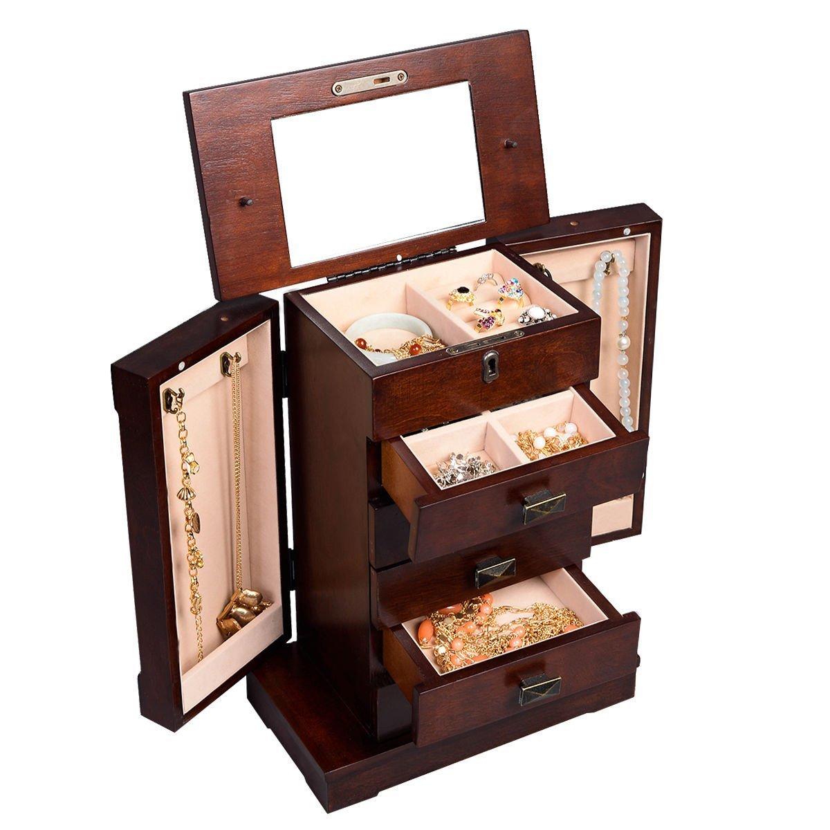 Generic YanHong150720-194 8yh1188yh lace Wood New Storage Chest Stand Organizer N Armoire Jewelry Cabinet Box Armoire J Organizer Necklace Wood New x Storage Armoire Jewelry Cabinet Box lry Cabin Organizer Necklace Wood New