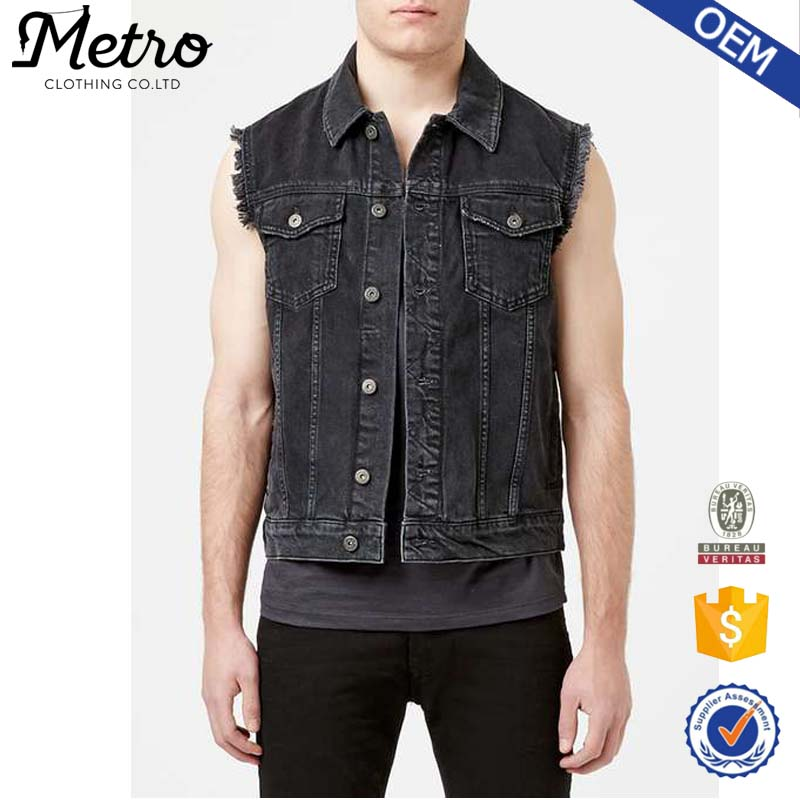 Mode En Gros Mens Biker Gilet En Denim Noir