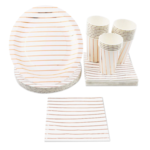 VOBAGA disposable luxury paper dinnerware set Includes paper plates, napkins, cups