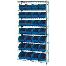 Wire Shelving With (28) Giant Plastic Stacking Bins Blue, 36x14x74