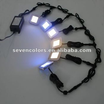 6x White SQUARE LED Lighting Kit Plinth Decking Patio Stair Case Stairway  Floor (SC