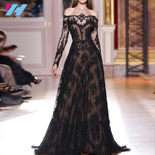YiHao Off-The-Shoulder Party Dress Black Lace Evening Dresses Long Sleeve American Style Fashion prom Dress