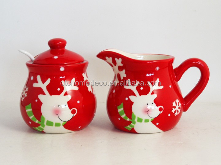 Kitchen items rudolph ceramic cream and sugar jar with spoon