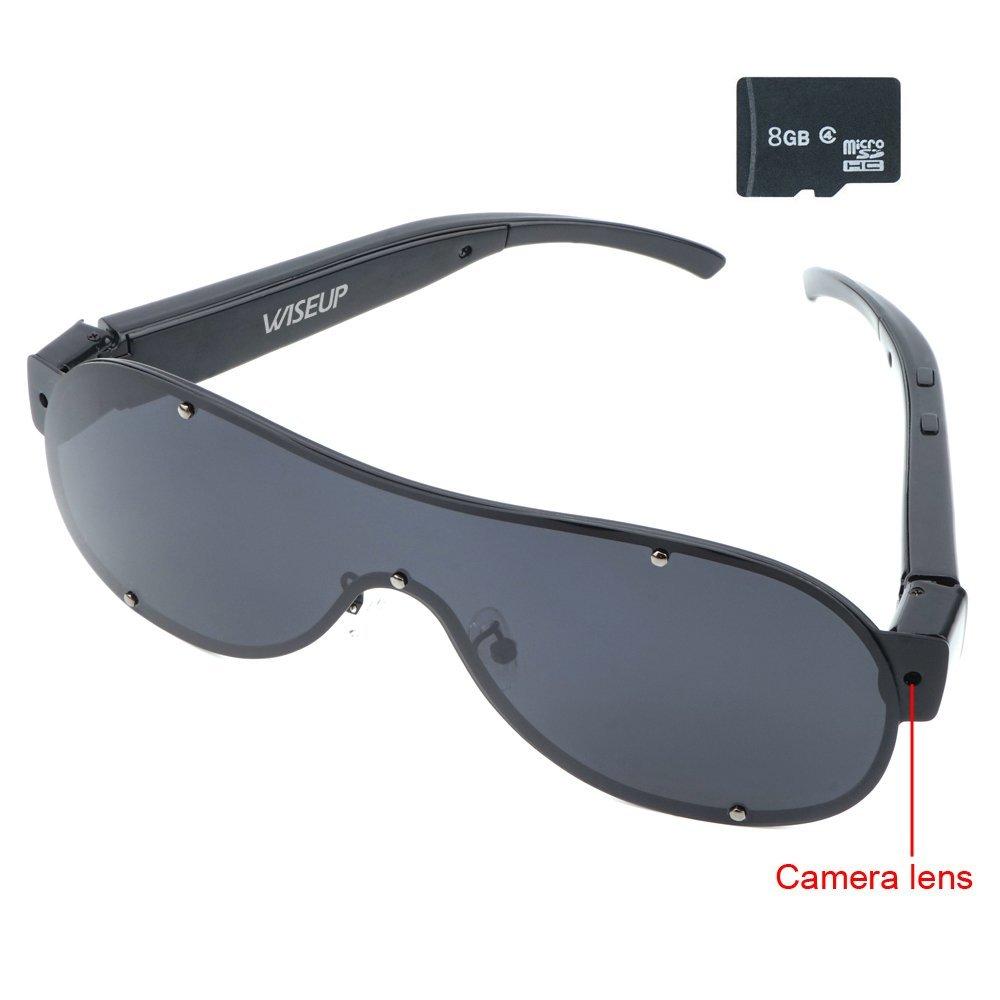 WISEUP 16GB 1920x1080P HD Wearable Hidden Camera Sunglasses Video Recorder Mini DV Camcorder