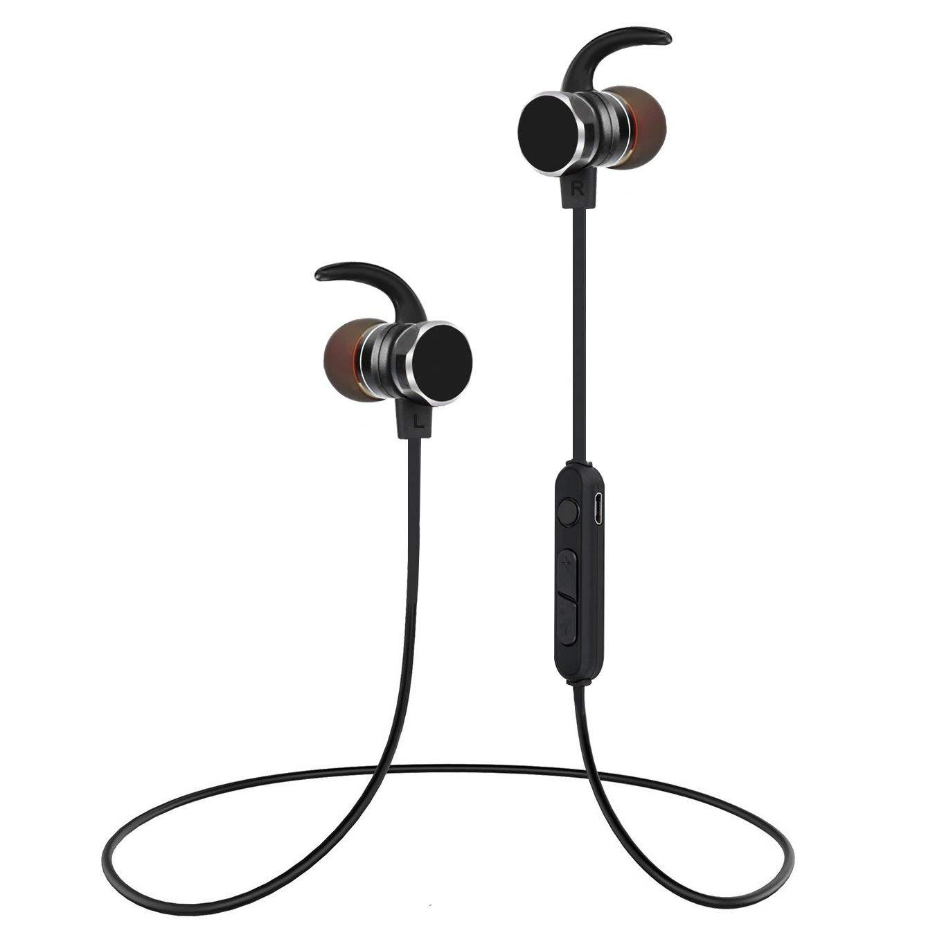 Wireless Sports Earphones, Ucio Wireless Bluetooth Headphones w/Mic IPX5 Waterproof HD Stereo Magnetic Sweatproof Wireless Earbuds for Gym Workout 6 Hour Battery Wireless Headsets
