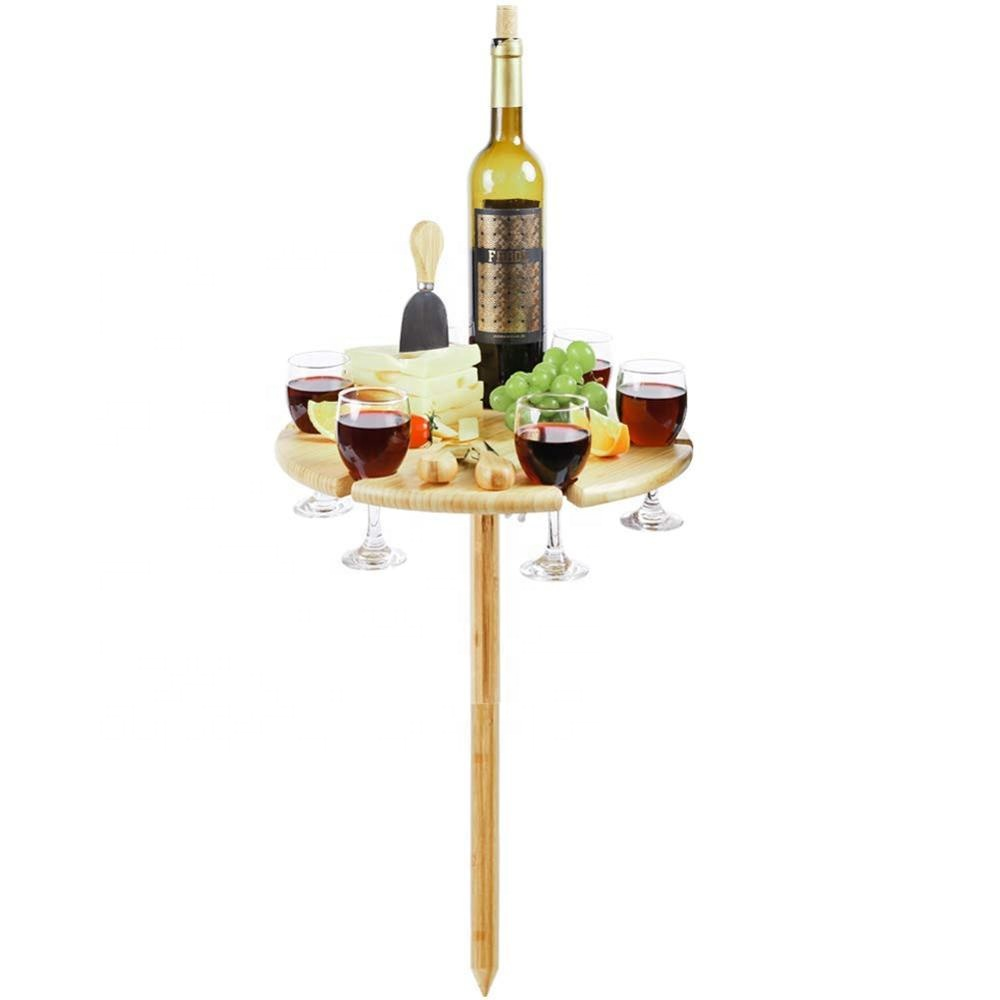 Bamboo Wine and Snacks <strong>Table</strong>, Cheese Board/Platter with Cutlery Set for Picnic Outdoor and Indoor-6 Positions Holder for Glasses