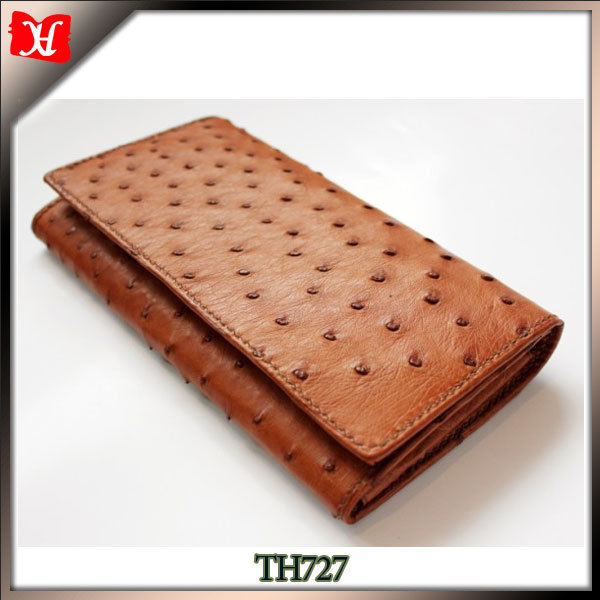 Customized women leather clutch wallet ostrich leather cheap lady wallet