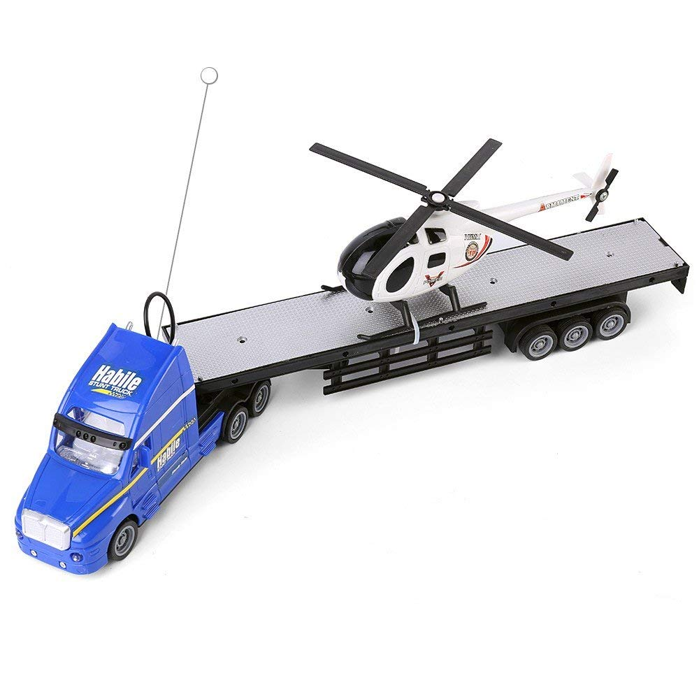 "Blue Semi Truck Trailer 20"" Hauler Remote Control RC Transporter Truck Full Cargo Big Rig with Helicopter"