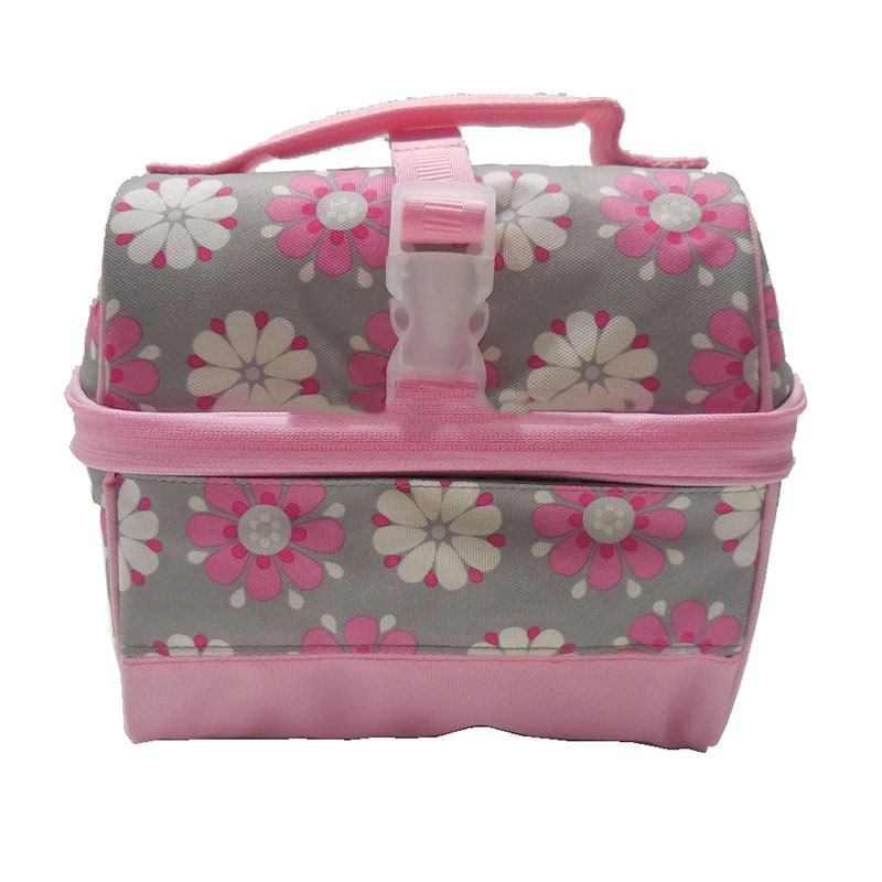 Custom Bloem Retro Kids Lunch Tas Polyester Materiaal Koeltas