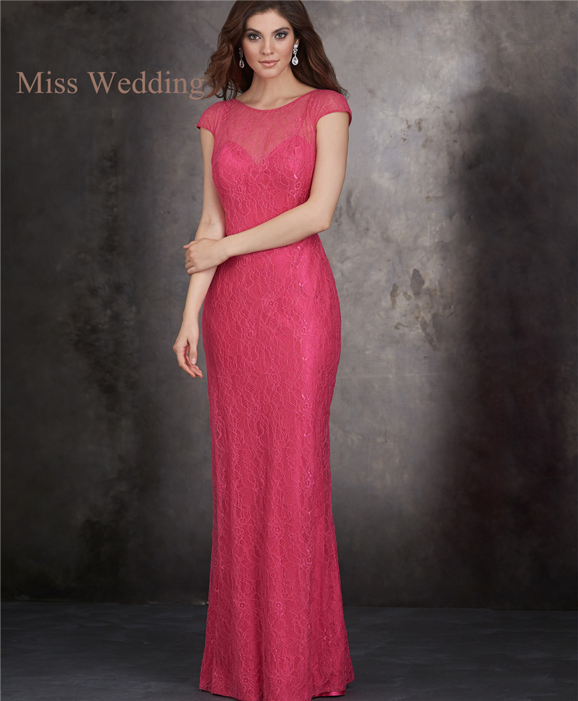 Elegant Lace Sleeve Short Wedding Dresses 2016 Scoop Neck: 2016 Elegant Long Skirt Red Lace Bridesmaid Floor Length