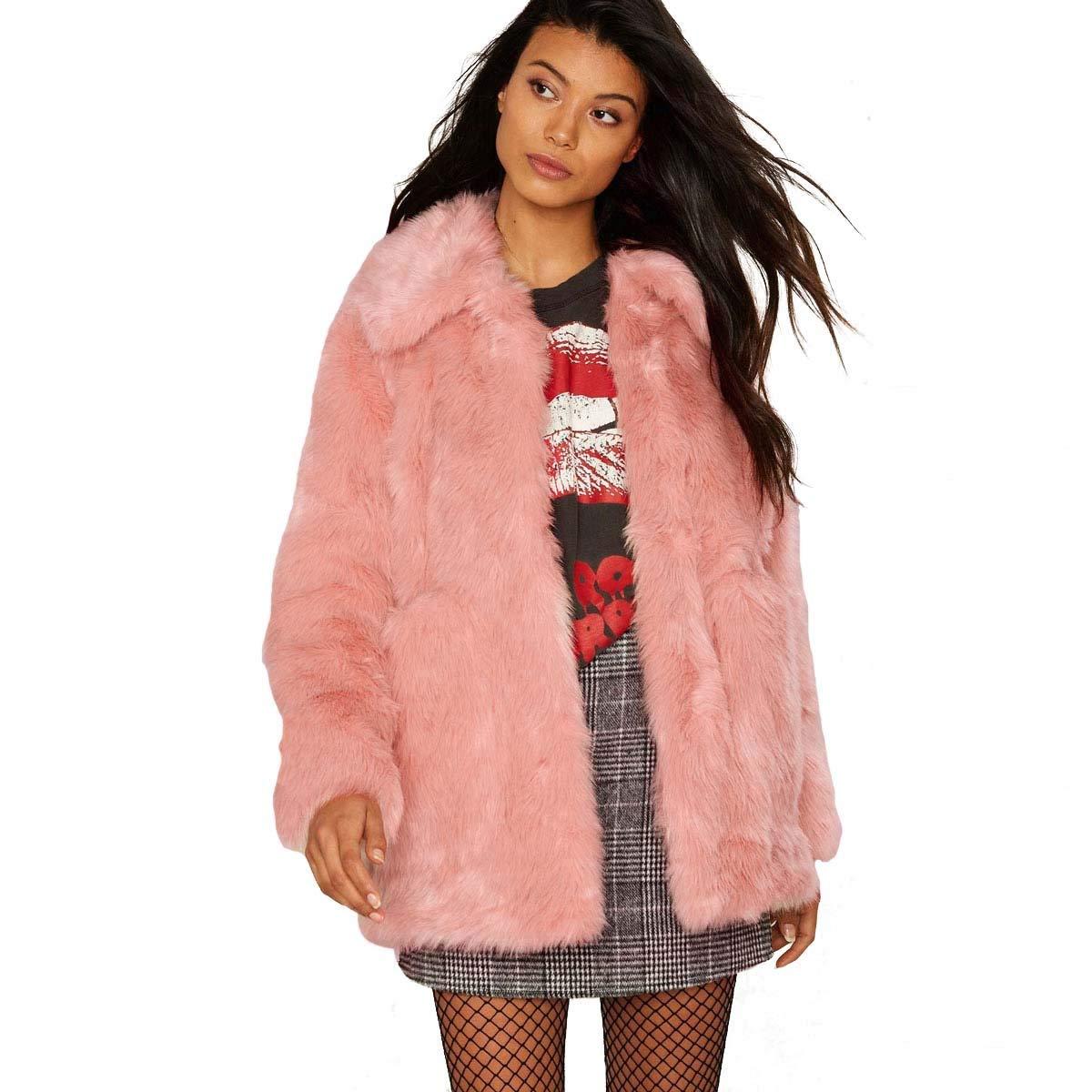 95b7f140db7 Get Quotations · WeHeart Women Fur Coat Classic Thick Warm Faux Fur Coat  Pink Pockets Fur Jacket
