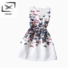 (8-20y)Girl Dress 2015 Summer Style Fashion Sleeveless Printed Kids Dresses for Girls Clothes Party Princess Dress Vestido