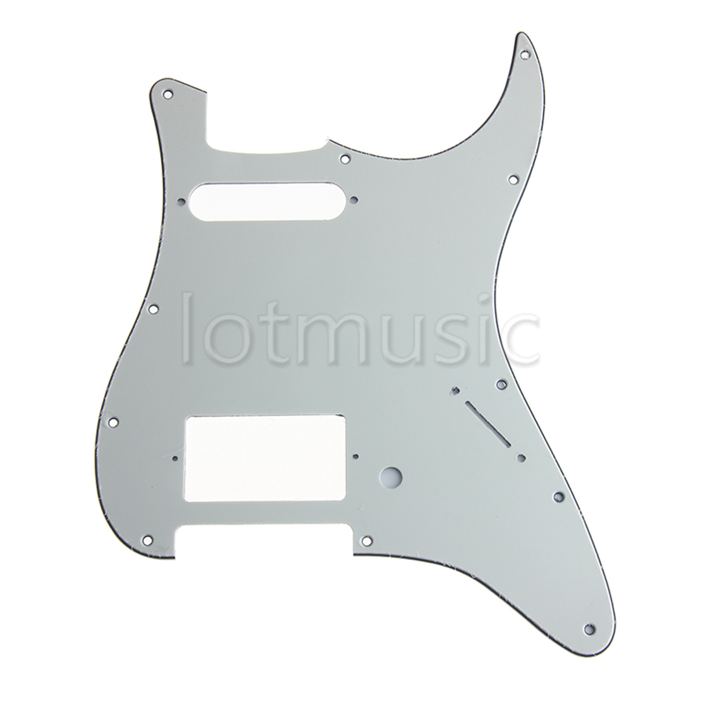 Replacement Strat Pickguard HS (Humbucker-Single), 3 Ply Aged White For FD Guitar