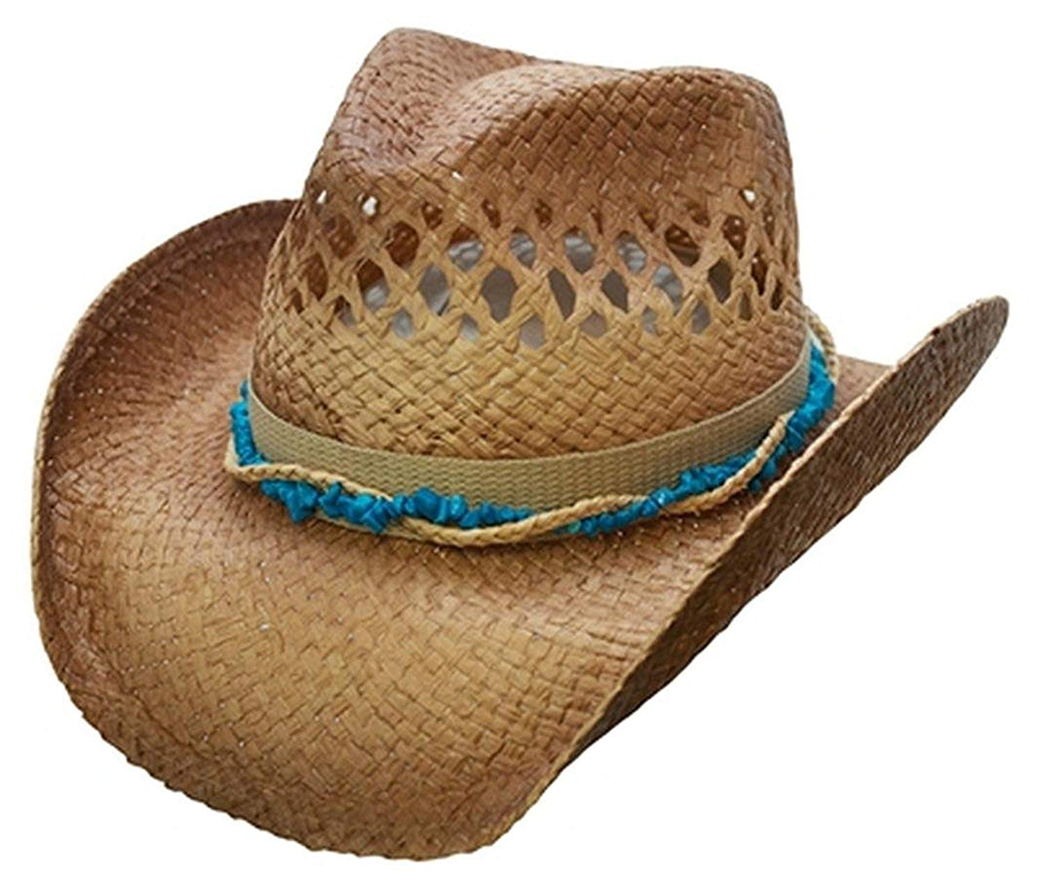 ea4a32839f104 Get Quotations · Cov-ver Hats Organic Raffia Straw Western Cowboy Hat 2  colors