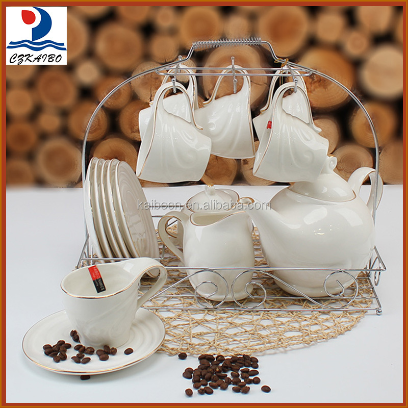 Latest design porcelain 17pcs tea set/coffee set for home and hotel