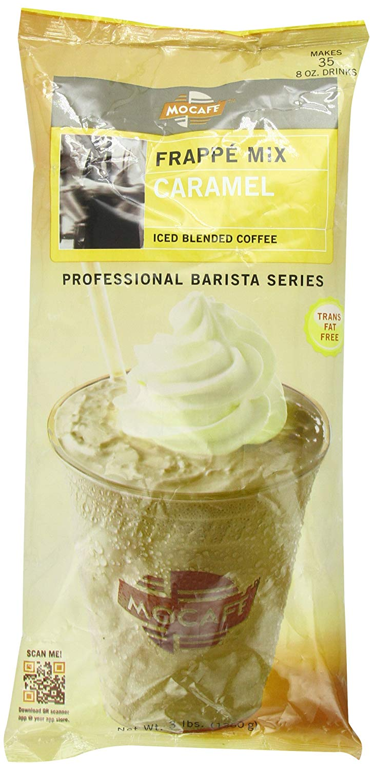 MOCAFE Frappe Caramel Ice Blended Coffee, 3-Pound Bag Instant Frappe Mix, Coffee House Style Blended Drink Used in Coffee Shops