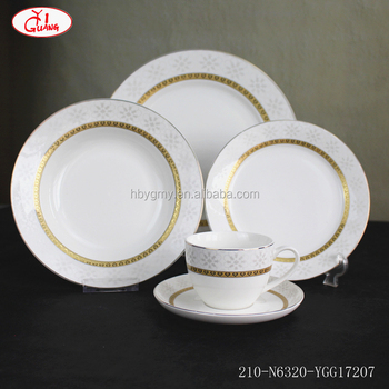 Round shape full decor villeroy boch dinnerware set with gold rim and white snowflake pattern YGG17207 & Round Shape Full Decor Villeroy Boch Dinnerware Set With Gold Rim ...