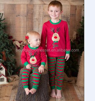 wholesale bulk reindeer christmas pajamas outfit lovely kids girls striped xmas pajamas outfit - Wholesale Christmas Pajamas