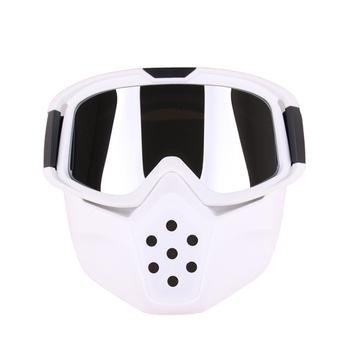 81856a1230 Lente gafas de motocicleta máscara Motocross cara máscara gafas desmontable  casco gafas a prueba de viento