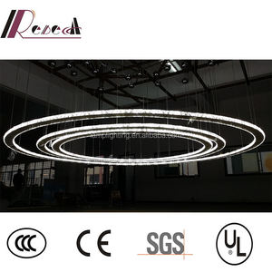 Modern Customized Crystal Adjustable Rings LED Round Dimmable Pendant Lamp