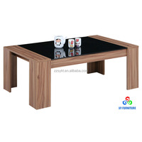 Cheap living room center table design wooden tea table with glass top wholesale