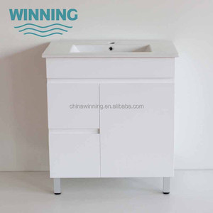 MDF Vanity Ceramic Top High White Gloss Finish Free Understanding Cabinet Bathroom Vanity Cabinets